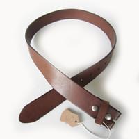 Wholesale Brown Belt Snap - Wholesale Retail Leather Belt For Men Classic Light Coffee Color Real Genuine Leather Snap On Belt Gurtel BELT1-014LW Free Shipping