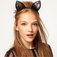 Wholesale-New Sexy Lady Women Girl Lace Cat Ears Hairband Cosplay Fancy Headband Halloween Frete Grátis