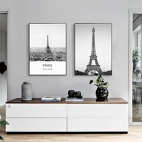 Wholesale Eiffel Tower Canvas Painting - 2 paintings black and white Eiffel Tower home decorative painting wall art painting fashion murals