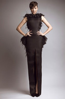 Wholesale Elegant Dresses Online - Formal Sheath Prom Dresses Floor-Length Chiffon Elegant Celebrity Back Slit Peplum Feather Evening Gowns Hot Sale Online
