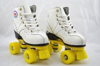 Wholesale Wheel Roller Shoes For Women - Wholesale-White cow leather soft double wheel for flexography roller skates skating shoes