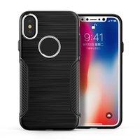 Wholesale Fiber Carbon Keys Case - For iphone x 8 7 carbon fiber tpu metal key cell phone case for iphone x cases
