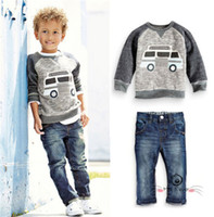 Wholesale Kid Boy Denim Shirt Wholesale - Boy Shirts kids 2PCS Baby Boys Long Sleeve T-Shirt and Denim Pants Set Kids Casual Clothes Outfits Boys Clothes