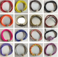 Wholesale Silver Beads For Clothes - Vintage Silvers Magnetic Rhinestone Buckle Weave Leather Wrap Wristband Braclets &Bangles 10pcs For Girls Woman Clothing Brand Jewelry L1050