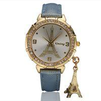 torre de relógio de pulseira venda por atacado-15% venda quente mulheres assistir relogio de quartzo marca de moda de luxo pulseira de couro vestido de quartzo relógios torre de ouro pingente pulseira de relógio