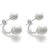 Wholesale Song Hye - DHL Free Shipping Wholesale 925 sterling silver earrings double pearl Koren Drama Song Hye Kyo Double Pearls Stud Earrings Women Double Use