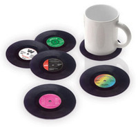 vinilo de té al por mayor-Spinning Retro Vinyl CD Record Bebidas Posavasos / Vinyl Coaster Cup Mat mejor oferta Vinyl Records Tea Pads Mini bandeja