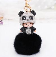 Wholesale monchichi cartoon for sale - Group buy Monchichi Handmade cute bling panda sleutelhanger crystal genuine rabbit furball keychain pendant for car bag keyring