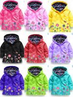 vestes style oxford achat en gros de-Mignon enfants filles manteaux de pluie de fleurs enfants bébé manteau à capuchon imperméable vestes Outwear imperméable à l'eau Hoodies bébé vêtements de pluie combinaisons de pluie