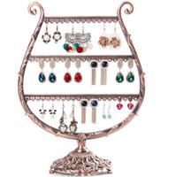 Wholesale Earrings Holder Metal - Vintage Black Copper Earrings Holder Stud Earrings Drop Earrings Display Rack Jewelry Display Stand Shelf AF