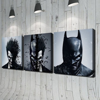 Wholesale Portraits Paintings - Batman and Joker 3pcs Modern Moive Portrait HD Oil Painting Print on Canvas Home Wall Decoration No Framed Home Decor