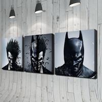 modern boyalı portreler toptan satış-Batman ve Joker 3 adet Modern Moive Portre HD Yağlıboya Tuval Ev Duvar Dekorasyonu Baskı Yok Çerçeveli Ev dekor