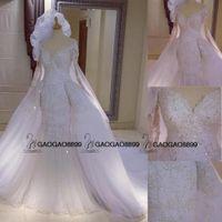Wholesale full tulle skirt wedding dresses for sale - 2016 Full Lace Beaded Mermaid Detachable Train Wedding Dresses with Long Sleeves Dubai Arabic Kaftan Style Over Skirt Wedding Gowns