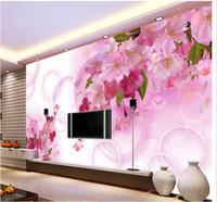 dessins de papier peint fleur rose achat en gros de-papel de parede fleur rose 3d conception de mur vidéo fleurs élégantes 3d fond d'écran livraison gratuite 461qw !!