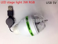 Wholesale-Tragbare 3W RGB USB 5V Super helle LED-Stadiums-Lampe Rotating Laserlicht-Partei DJ Weihnachts Verein Bulb