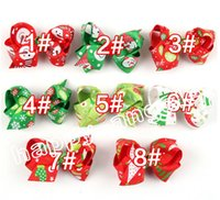 Wholesale Decoration Ribbon Bow - 16pcs Christmas Ribbon Hair Bows WITH CLIP for Christmas Party Decoration 3 inch Boutique Hair Bows Kids Christmas Gift HD3292
