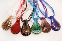 Wholesale murano glass gold pendant - Gold Foil Drop Mixed Color Cute Hot Murano Glass Silk Cord Necklace Jewelry NL171