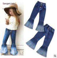 Wholesale girls vintage boots - Girls Jeans Girls Bell-bottomed Pants Spring Children Trousers Outfits Baby Costume Fashion Kids Vintage Jeans Fashion Overalls