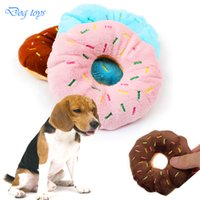 1 unid Pet Dog Chew Throw Juguetes AVATON Sightly Lovely Pet Dog Puppy Cat Squeaker Quack Sound Toy Chew Donut Jugar juguetes para perros 11 CM