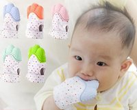 Wholesale Candies Sound - Baby pacifier polka dots glove teething baby silicone mitt teething massage mitten teething glove gel candy opening sound teether R1631