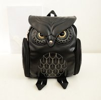 Wholesale Satchel Bags Owl - Retail Fashion Owl Backpack PU Leather Women Backpacks Travel Bags Girl Cartoon Shoulder School Bag Backpack Preppy Promotion 4 Colors