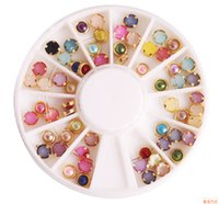 Wholesale Mix Rhinestones Wheel - Nail Art Rhinestones Pro 4mm Colorful Mixed Alloy Nail Art Artificial Pearl Decorations Sticker + Wheel Box Nail Art Salon Tools Nail DIY
