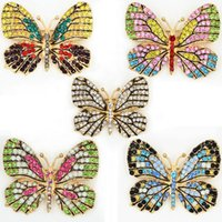 ingrosso accessori animali-OneckOha Fashion Jewelry Colorful Rhinestone Butterfly Spille Lega smaltata Animal Brooch Pin Apparel Accessories