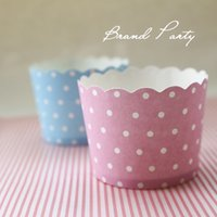 Cupcake Wrappers BluePink White Dots Bulk 100pcs / lot Haute température Muffin Baking Cups Paquet de cupcake en papier anti-graisse