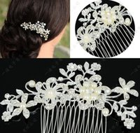 Wholesale Wholesale Wig Brushes - 2016 Fashion Bridal Wedding Tiaras Stunning Fine Comb Bridal Jewelry Accessories Crystal Pearl Hair Brush AA0266