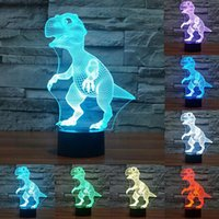 Wholesale face desk - 3d Light Night Novelty Touch Switch Desk lamp Colorful acrylic LED Table Lamp 3D Illusion Dinosaur For Home Decor