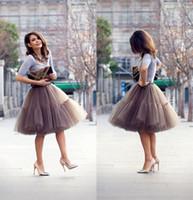 faldas tutu hasta la rodilla al por mayor-Falda de primavera hasta la rodilla Pretty Girl Girl Tulle adulto Tutu Layeredr mini falda Una línea de faldas de busto vestido por encargo