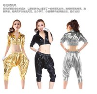 Wholesale Girl Suit Dance Costume - New Harlan Fashion Suit DS Pole Dancing Sexy Costumes Patent Leather Jazz Hip-hop Female Performnce Modern Party Girl Dancerwear