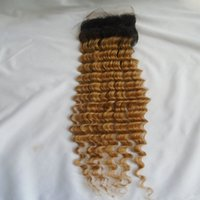 Wholesale Two Toned Lace Top Closure - T1b 27 Ombre Brazilian Deep Wave Lace Closure Free Part Dark Root Honey Blonde Two Tone Virgin Human Hair Top Closure Bleached Knots