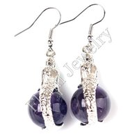 Wholesale Aventurine Stone Jewelry - Charm Round Amethyst Aventurine etc Natural Stone Bead Mermaid Drop Earrings Accessories Silver Plated Jewelry 10Pairs
