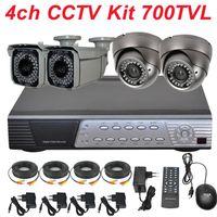 Wholesale Kit Full D1 Dvr - CCTV system 4ch cctv kit best Sony effio 700TVL varifocal IR cctv zoom lens securiy video camera 4CH full D1 HD DVR digital video recorder