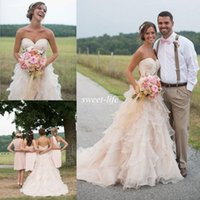 Wholesale Empire Sweetheart Ruffle Wedding Dress - Blush Pink Country Wedding Dresses Ruffle Sweetheart Backless Vintage Lace Beads Chapel Train Organza 2015 Spring Wedding Party Bridal Gowns