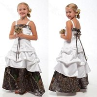 Wholesale Dress Bridesmaid Kids White - 2018 New Camo Flower Girls Dresses Camouflage Lace Up Junior Bridesmaid Dresses A Line Floor Length Kids Wedding Party Gowns BA1784