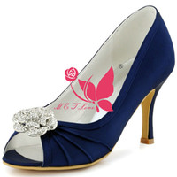 Wholesale Yellow Bridal Peep Toe Heels - Brand New Cheap Shoes Navy Satin Heels Bridal Beaded Shoes Peep Toe Wedding & Party Shoes WS0113 Customise Size 33 to 43