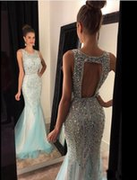 Wholesale Luxury Ladies Dress Prom - 2018 Blingbling Luxury Beads Crystal Mermaid Evening Dresses Tulle Sexy Backless Arabic Ladies Long Formal Prom Gown