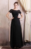 Wholesale Best Custom Made Shirts - Best Selling Free Shipping 2018 New arrival appliques beaded Sheer Scoop Neck short sleeves Black A-line mother of bride prom dresses