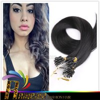 Wholesale Brazilian Micro Ring Loop Hair Extensions Straight Human Hair g g strand quot quot B Black Brown blonde