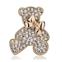 Wholesale Teddy Gift Wholesales - High Quality Bear Brooch Factory Direct Wedding Bridal Brooch Pin Exquisite Shinning Rhinestone Animal Teddy Bear Bowtie Brooch SH020