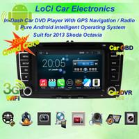 7 'navegação gps venda por atacado-Android puro 4.4.4, quad core, carro dvd multimídia rádio android player para Skoda Octavia 2007 - 2009, 2013, navegação gps, TV