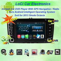 Wholesale Skoda Din Android - Pure android 4.4.4, Quad Core, Car dvd Multimedia radio android player for Skoda Octavia 2007 - 2009, 2013, gps navigation,TV