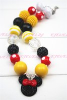 Wholesale Chunky Yellow Beaded Necklace - Red Knot Micky Mouse Yellow&Black Girls Chunky Necklace, Girls Bubblegum Chunky Necklace CB093