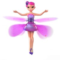 Wholesale Pink Helicopter Toy - hot sale Plastic Funny Game Flying Fairy Princess lovely Doll Helicopter Infrared Induction cute Toys RC Helicopertor for children gift