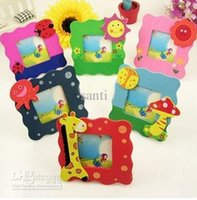 Wholesale Baby Photo Frame Cartoon - Children's kids photo frame Cartoon baby photo frame Mixed cute wooden cartoon