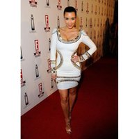 Wholesale Kim Kardashian White Halter Dress - 2016 New Celebrity Style Kim Kardashian Runway Red Carpet Evening Dress Party Dresses Nightclub Bandage Dresses Evening Gowns HL245 HL568