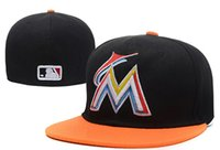 Wholesale Marlins Hats - Free shipping MLB Florida Marlins Baseball Cap Front Logo Alternate Fitted Hat wicks away sweat Adult Sport Fit Cap