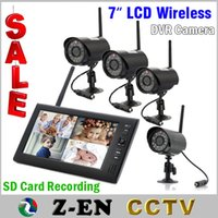 Wholesale Home Surveillance System Monitor - Outdoor Home Security Camera System Wireless Recorder Night Vision Video 4 Surveillance Cameras with 7inch Monitor Free Shipping